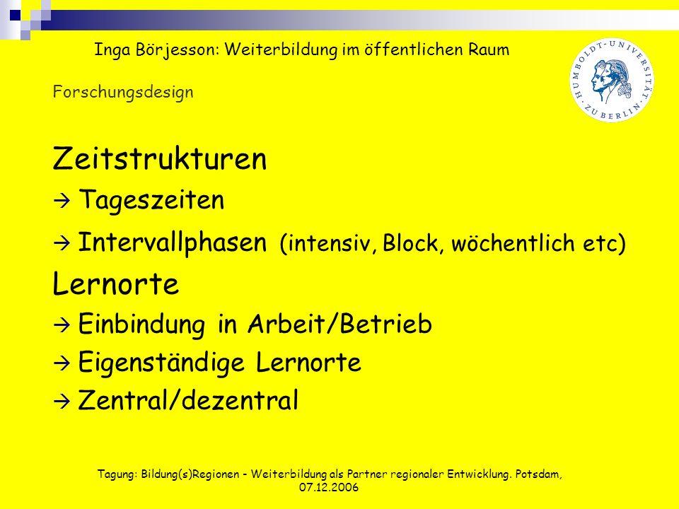 Tagung: Bildung(s)Regionen - Weiterbildung als Partner regionaler Entwicklung. Potsdam, 07.12.2006 Zeitstrukturen Tageszeiten Intervallphasen (intensi
