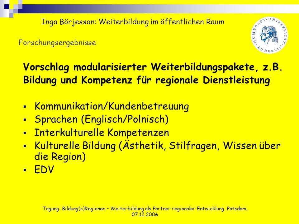 Tagung: Bildung(s)Regionen - Weiterbildung als Partner regionaler Entwicklung. Potsdam, 07.12.2006 Forschungsergebnisse Vorschlag modularisierter Weit