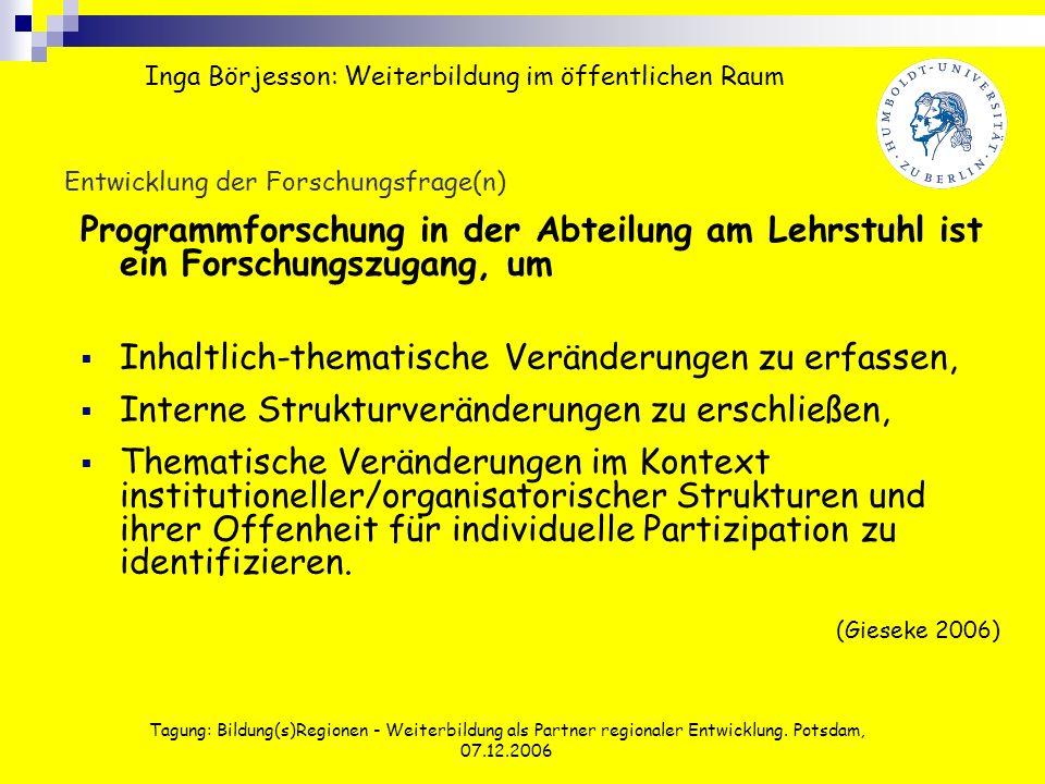 Tagung: Bildung(s)Regionen - Weiterbildung als Partner regionaler Entwicklung. Potsdam, 07.12.2006 Entwicklung der Forschungsfrage(n) Programmforschun
