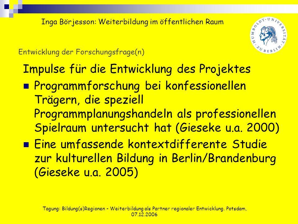 Tagung: Bildung(s)Regionen - Weiterbildung als Partner regionaler Entwicklung. Potsdam, 07.12.2006 Entwicklung der Forschungsfrage(n) Impulse für die