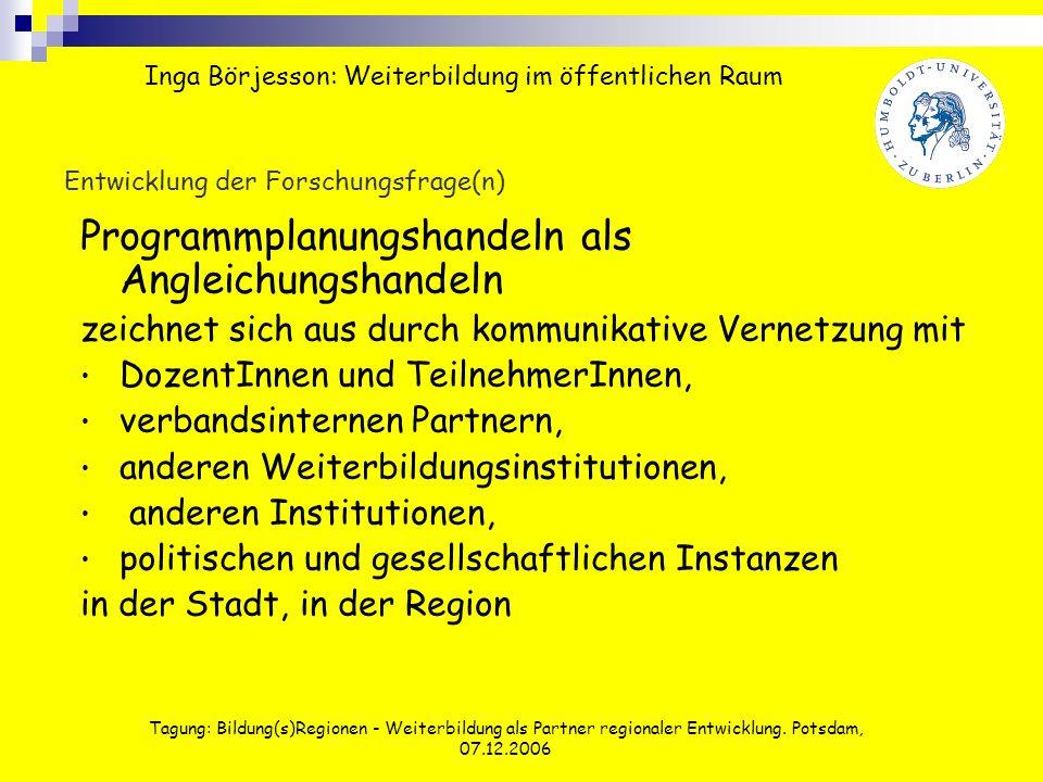 Tagung: Bildung(s)Regionen - Weiterbildung als Partner regionaler Entwicklung. Potsdam, 07.12.2006 Entwicklung der Forschungsfrage(n) Programmplanungs