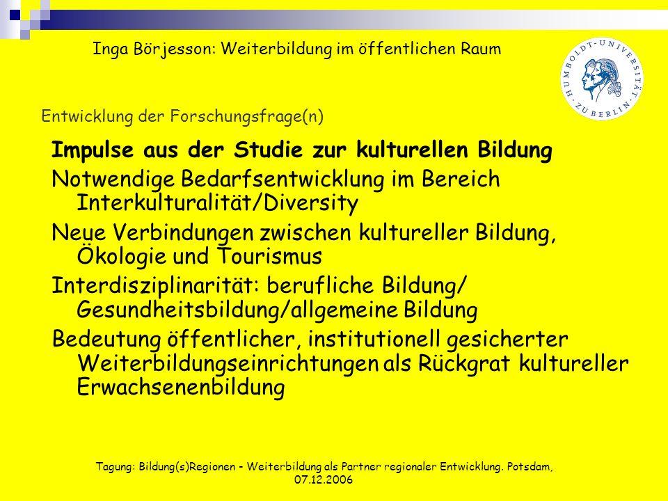 Tagung: Bildung(s)Regionen - Weiterbildung als Partner regionaler Entwicklung. Potsdam, 07.12.2006 Entwicklung der Forschungsfrage(n) Impulse aus der