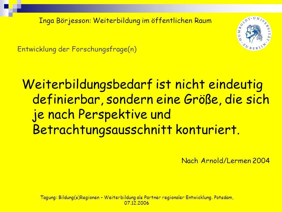 Tagung: Bildung(s)Regionen - Weiterbildung als Partner regionaler Entwicklung. Potsdam, 07.12.2006 Entwicklung der Forschungsfrage(n) Weiterbildungsbe