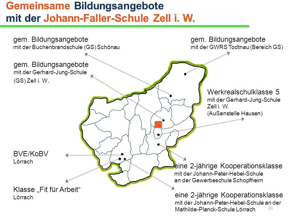 gem. Bildungsangebote mit der Buchenbrandschule (GS) Schönau eine 2-jährige Kooperationsklasse mit der Johann-Peter-Hebel-Schule an der Gewerbeschule