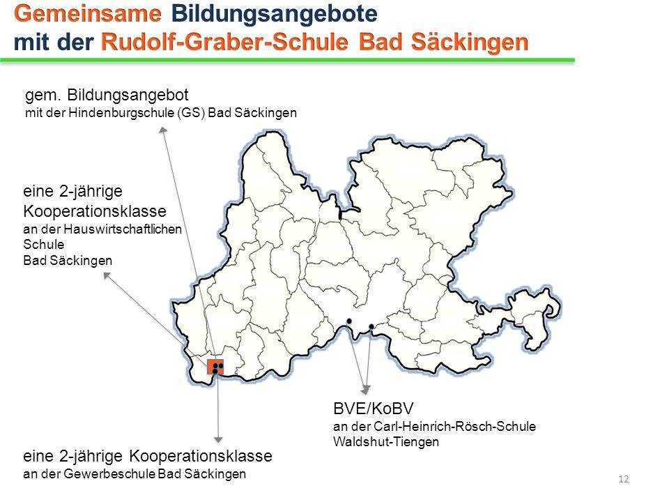 gem. Bildungsangebot mit der Hindenburgschule (GS) Bad Säckingen BVE/KoBV an der Carl-Heinrich-Rösch-Schule Waldshut-Tiengen eine 2-jährige Kooperatio