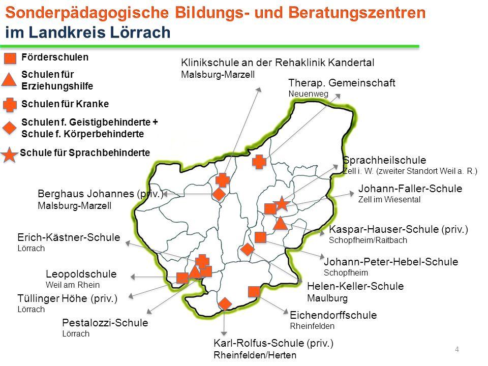 Förderschulen Pestalozzi-Schule Lörrach Eichendorffschule Rheinfelden Johann-Peter-Hebel-Schule Schopfheim Leopoldschule Weil am Rhein Johann-Faller-S