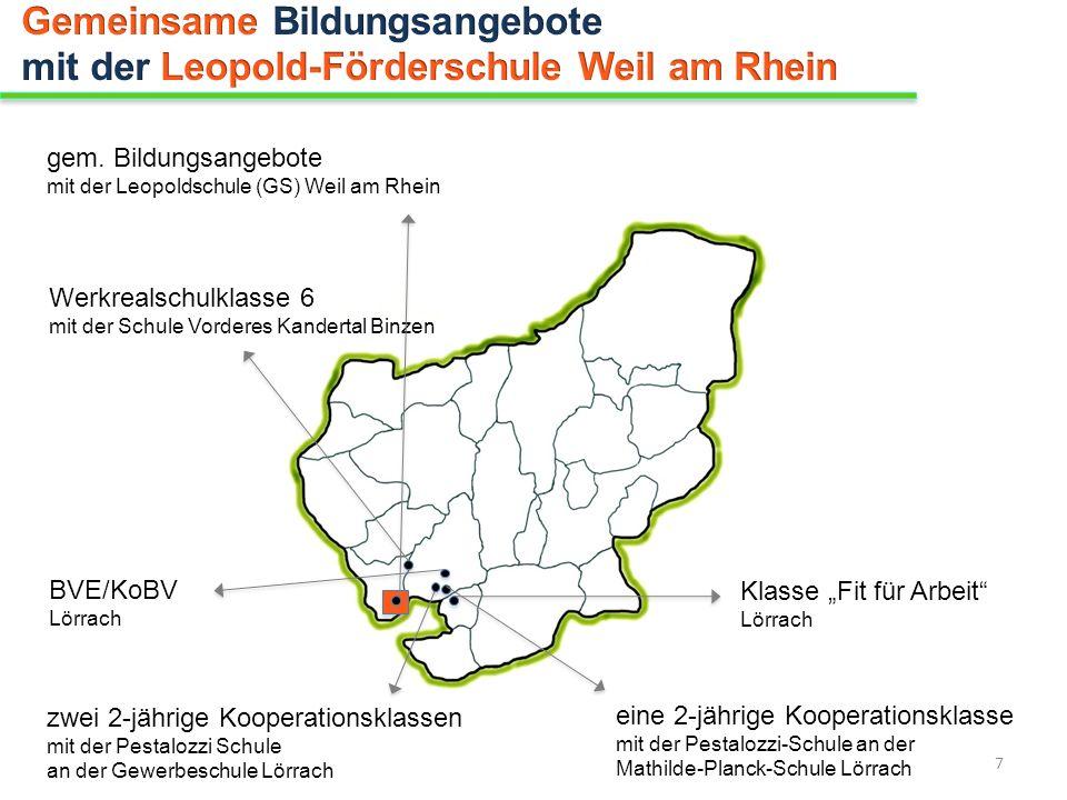 gem. Bildungsangebote mit der Leopoldschule (GS) Weil am Rhein Werkrealschulklasse 6 mit der Schule Vorderes Kandertal Binzen BVE/KoBV Lörrach Klasse