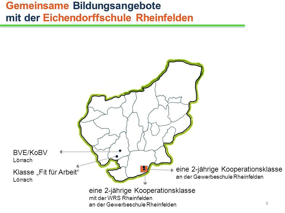eine 2-jährige Kooperationsklasse mit der WRS Rheinfelden an der Gewerbeschule Rheinfelden BVE/KoBV Lörrach Klasse Fit für Arbeit Lörrach eine 2-jähri