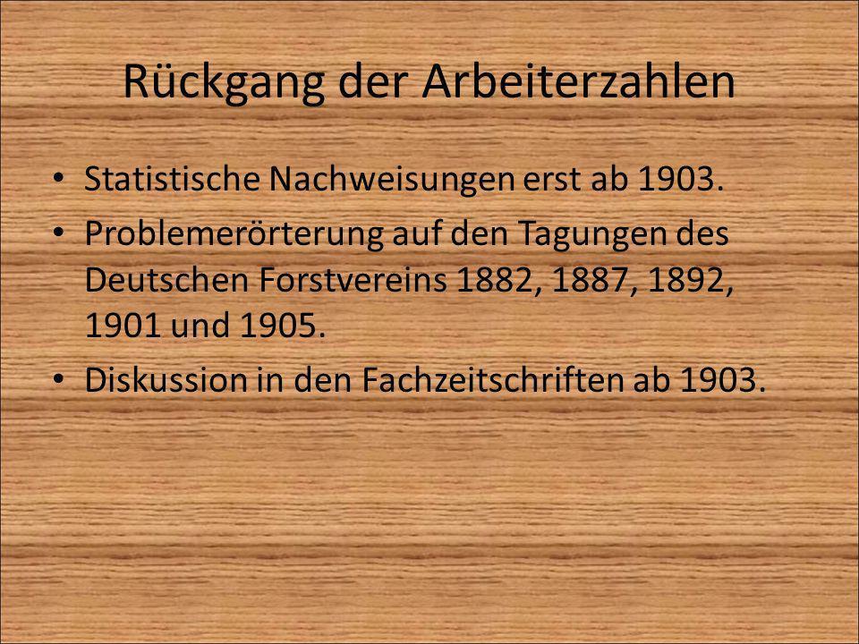Rückgang der Arbeiterzahlen Statistische Nachweisungen erst ab 1903. Problemerörterung auf den Tagungen des Deutschen Forstvereins 1882, 1887, 1892, 1