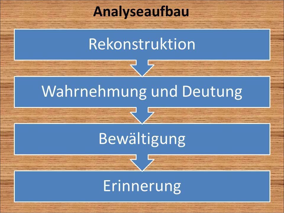 Analyseaufbau Erinnerung Bewältigung Wahrnehmung und Deutung Rekonstruktion