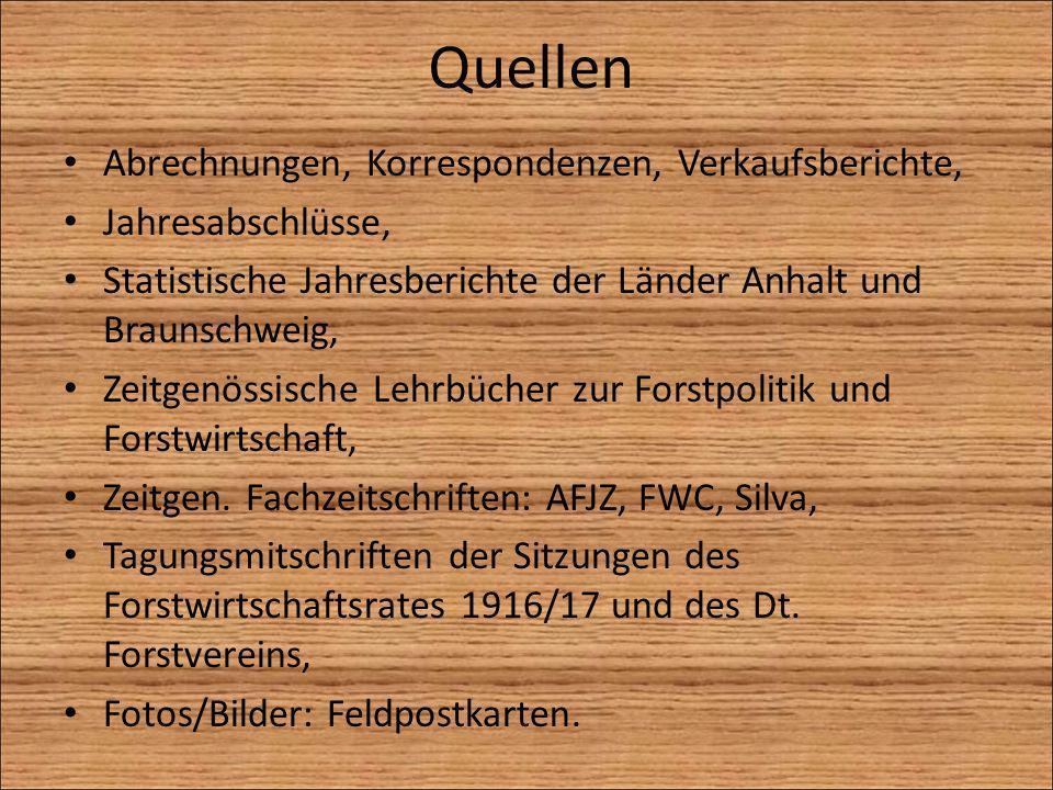 Quellen Abrechnungen, Korrespondenzen, Verkaufsberichte, Jahresabschlüsse, Statistische Jahresberichte der Länder Anhalt und Braunschweig, Zeitgenössi