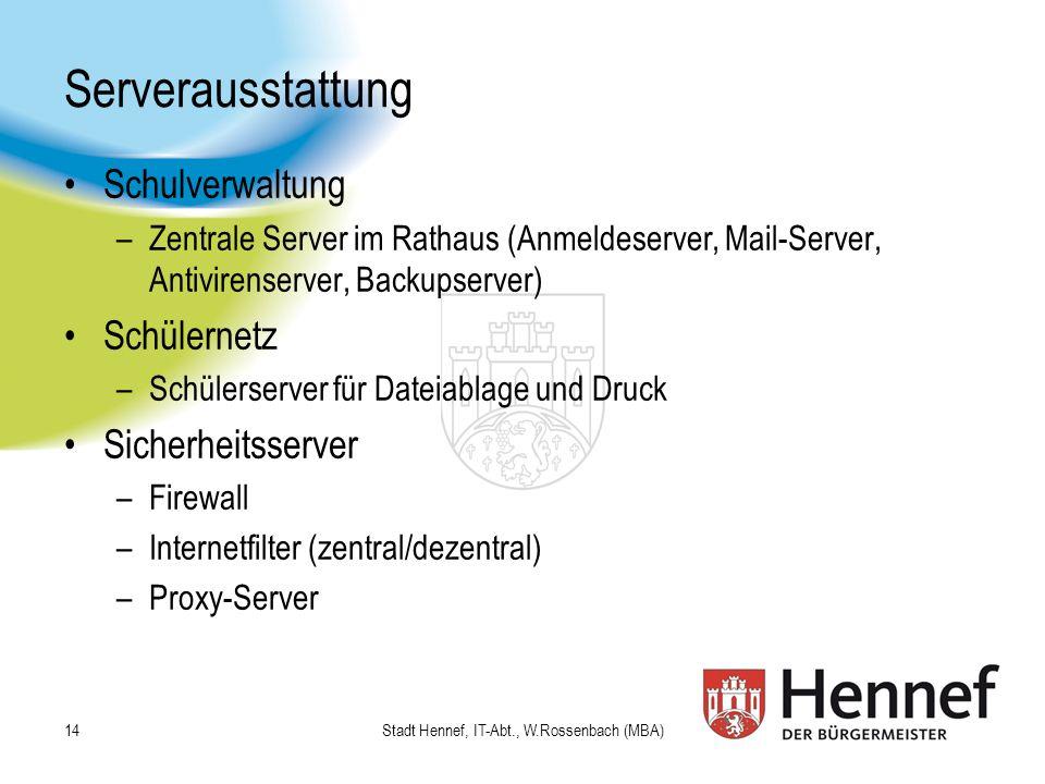 Serverausstattung Schulverwaltung –Zentrale Server im Rathaus (Anmeldeserver, Mail-Server, Antivirenserver, Backupserver) Schülernetz –Schülerserver f