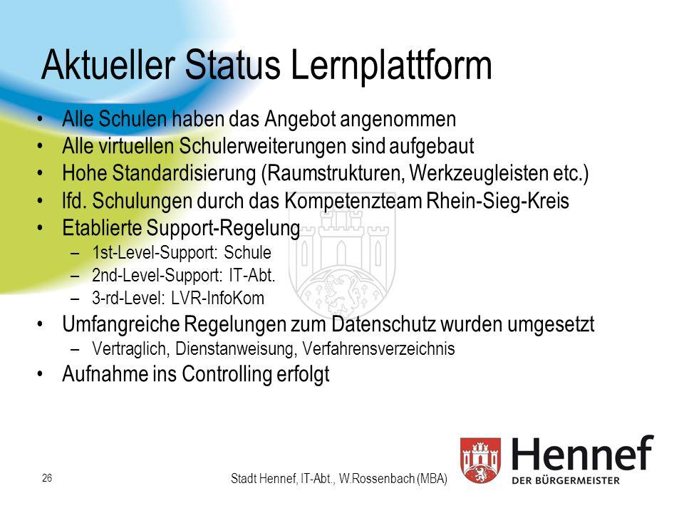 Stadt Hennef, IT-Abt., W.Rossenbach (MBA) Aktueller Status Lernplattform Alle Schulen haben das Angebot angenommen Alle virtuellen Schulerweiterungen