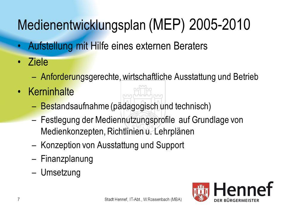 Medienentwicklungsplan (MEP) 2005-2010 Aufstellung mit Hilfe eines externen Beraters Ziele –Anforderungsgerechte, wirtschaftliche Ausstattung und Betr