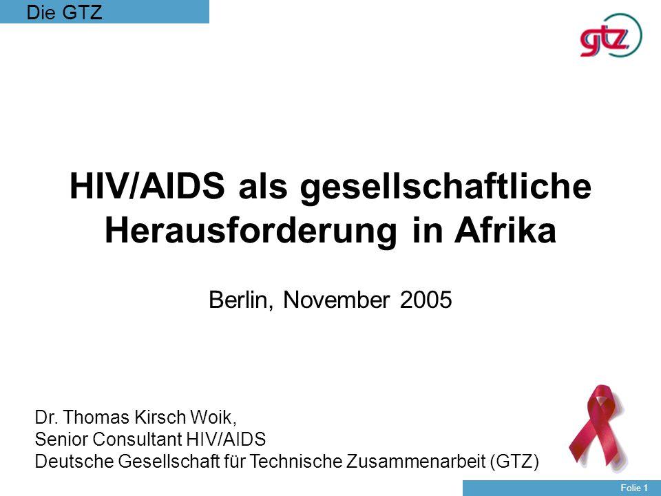 Die GTZ Folie 32 Die Dienstleistungen der GTZ im Bereich HIV/AIDS 1.HIV/AIDS als Entwicklungshemmnis –Die Beratung von Partnerregierungen bei der Konzeption und Umsetzung von nationalen HIV/AIDS Programmen in verschiedenen entwicklungsrelevanten Sektoren 2.HIV/AIDS auf lokaler Ebene –Die Beratung von Partnern bei umfassenden kommunalen HIV/AIDS-Bekämpfungsprogrammen 3.HIV/AIDS am Arbeitsplatz –Die Beratung von Unternehmen und öffentlichen Auftraggebern bei der Einführung von HIV/AIDS Arbeitsplatzprogrammen