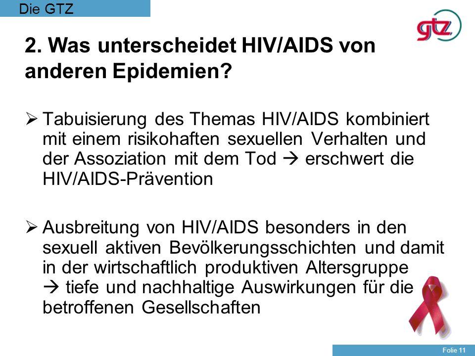 Die GTZ Folie 11 2. Was unterscheidet HIV/AIDS von anderen Epidemien? Tabuisierung des Themas HIV/AIDS kombiniert mit einem risikohaften sexuellen Ver