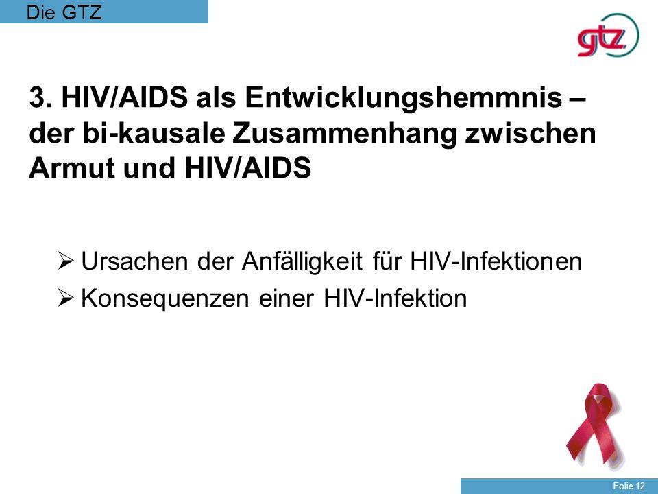 Die GTZ Folie 12 3. HIV/AIDS als Entwicklungshemmnis – der bi-kausale Zusammenhang zwischen Armut und HIV/AIDS Ursachen der Anfälligkeit für HIV-Infek