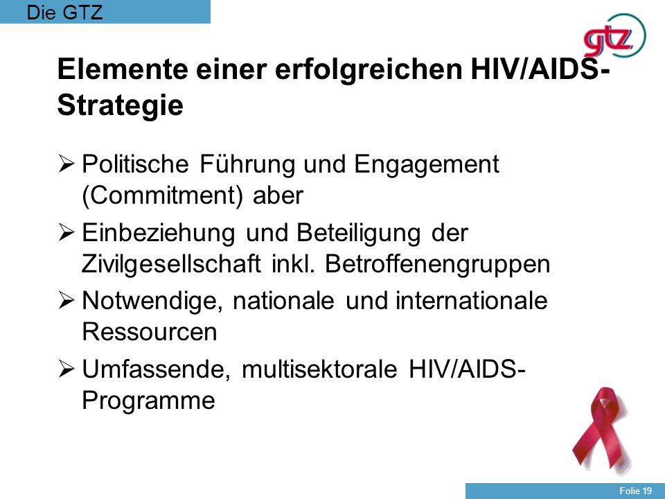 Die GTZ Folie 19 Elemente einer erfolgreichen HIV/AIDS- Strategie Politische Führung und Engagement (Commitment) aber Einbeziehung und Beteiligung der