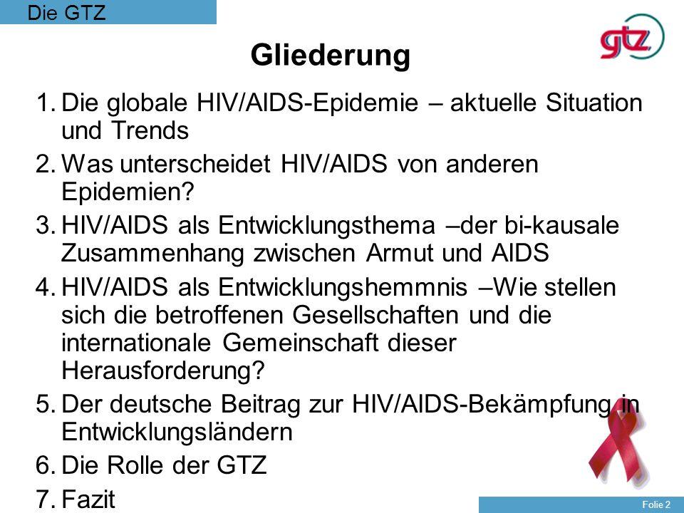 Die GTZ Folie 2 Gliederung 1.Die globale HIV/AIDS-Epidemie – aktuelle Situation und Trends 2.Was unterscheidet HIV/AIDS von anderen Epidemien? 3.HIV/A