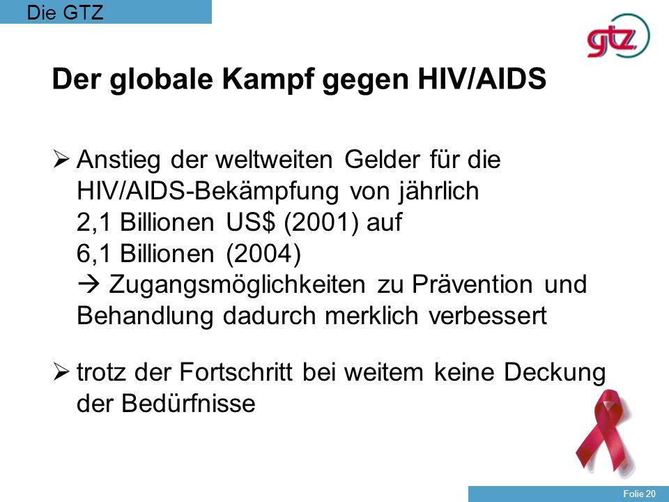 Die GTZ Folie 20 Der globale Kampf gegen HIV/AIDS Anstieg der weltweiten Gelder für die HIV/AIDS-Bekämpfung von jährlich 2,1 Billionen US$ (2001) auf