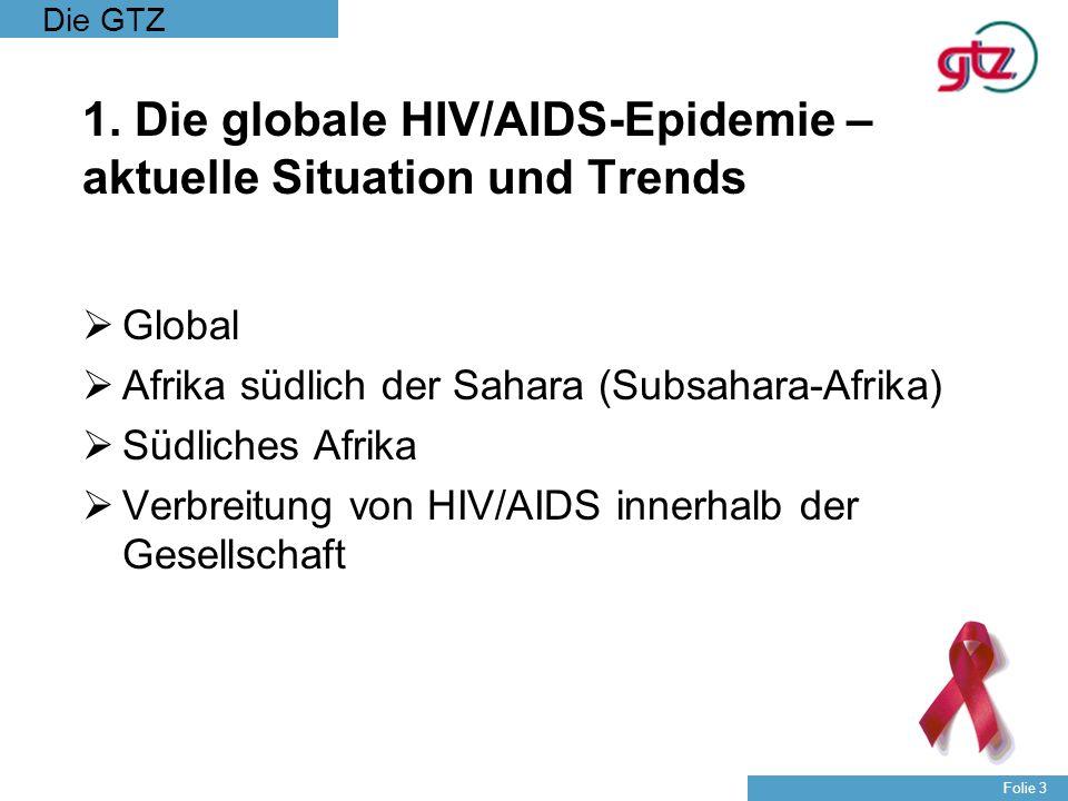 Die GTZ Folie 24 HIV/AIDS spezifische Herausforderungen nach der UNGASS Deklaration : Effektive Durchführung und Ausweitung von nationalen HIV/AIDS Strategien (so genanntes scaling-up) HIV/AIDS als Entwicklungshemmnis in allen Sektoren Zugang zu Therapie auch für AIDS Erkrankte in armen Ländern Nutzung der neuen Finanzierungsmechanismen