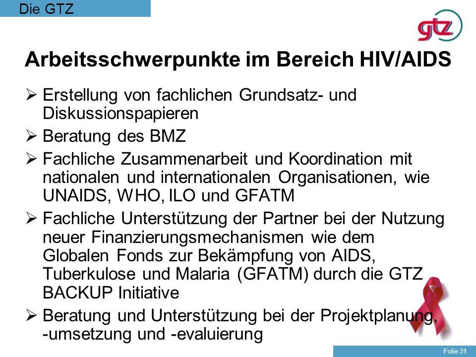 Die GTZ Folie 31 Arbeitsschwerpunkte im Bereich HIV/AIDS Erstellung von fachlichen Grundsatz- und Diskussionspapieren Beratung des BMZ Fachliche Zusam