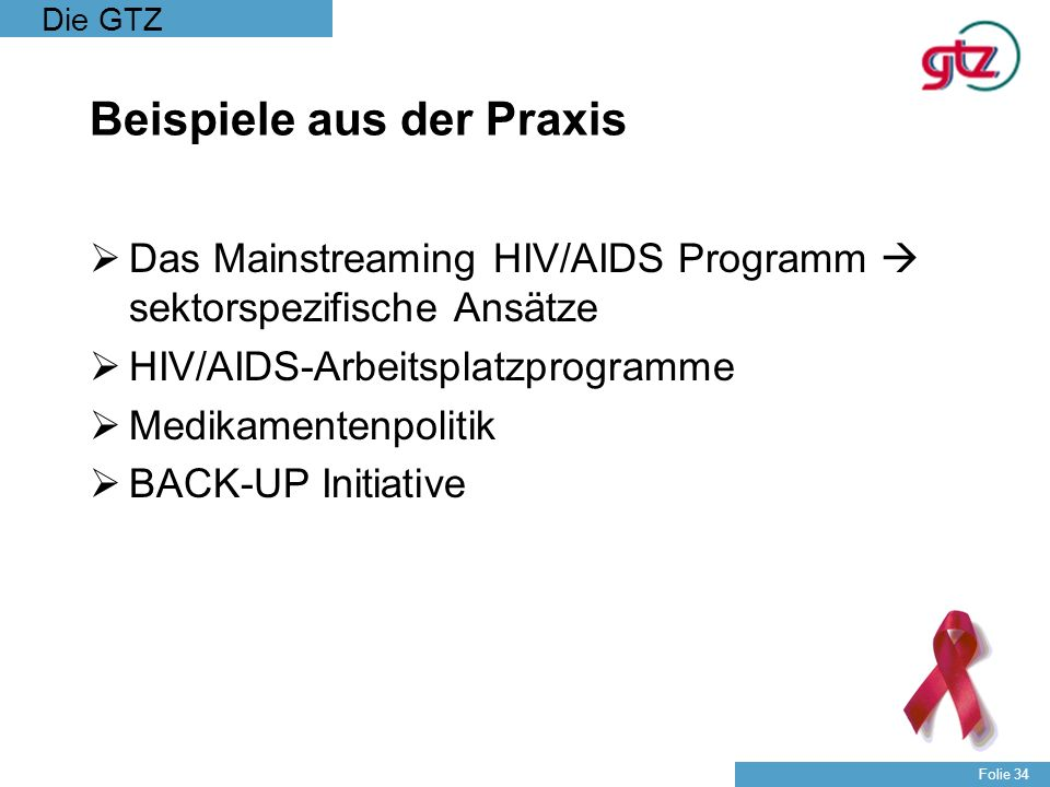 Die GTZ Folie 34 Beispiele aus der Praxis Das Mainstreaming HIV/AIDS Programm sektorspezifische Ansätze HIV/AIDS-Arbeitsplatzprogramme Medikamentenpol