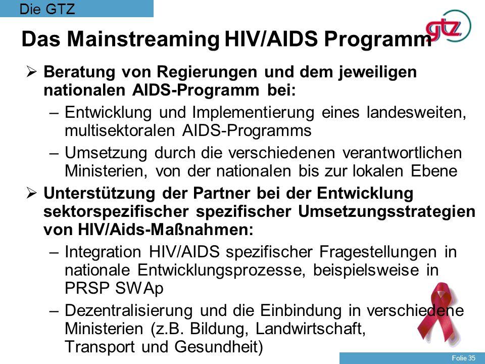 Die GTZ Folie 35 Das Mainstreaming HIV/AIDS Programm Beratung von Regierungen und dem jeweiligen nationalen AIDS-Programm bei: –Entwicklung und Implem