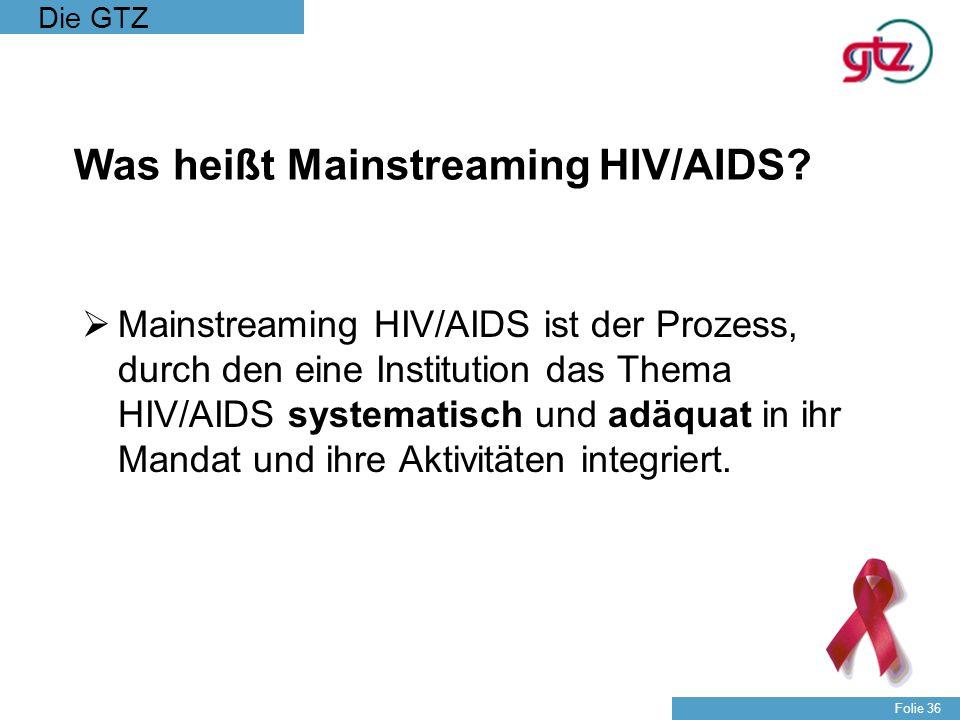 Die GTZ Folie 36 Was heißt Mainstreaming HIV/AIDS? Mainstreaming HIV/AIDS ist der Prozess, durch den eine Institution das Thema HIV/AIDS systematisch