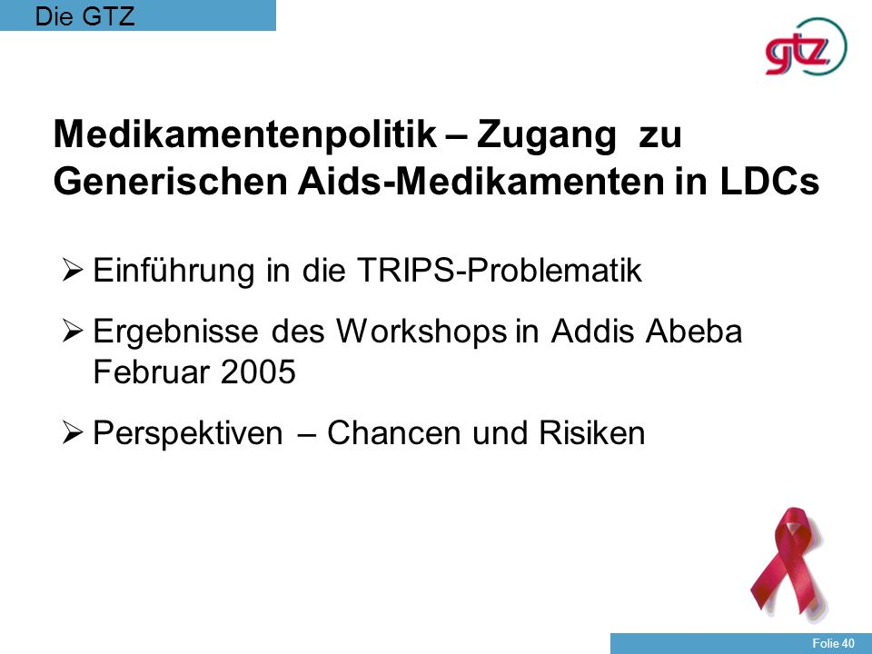 Die GTZ Folie 40 Medikamentenpolitik – Zugang zu Generischen Aids-Medikamenten in LDCs Einführung in die TRIPS-Problematik Ergebnisse des Workshops in
