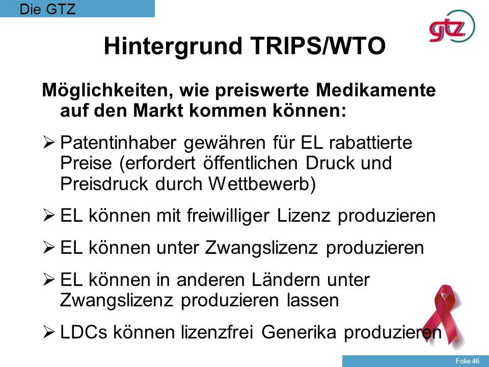 Die GTZ Folie 46 Hintergrund TRIPS/WTO Möglichkeiten, wie preiswerte Medikamente auf den Markt kommen können: Patentinhaber gewähren für EL rabattiert
