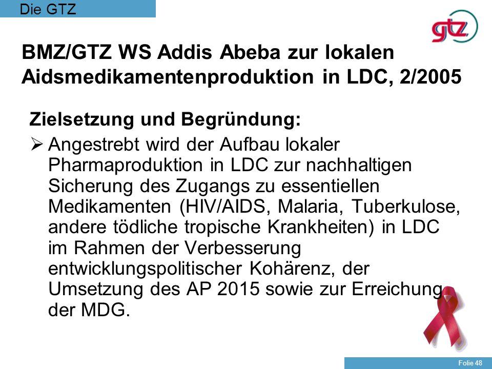 Die GTZ Folie 48 BMZ/GTZ WS Addis Abeba zur lokalen Aidsmedikamentenproduktion in LDC, 2/2005 Zielsetzung und Begründung: Angestrebt wird der Aufbau l