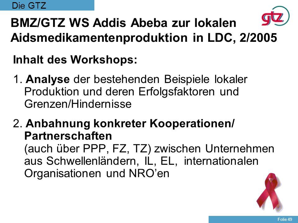 Die GTZ Folie 49 BMZ/GTZ WS Addis Abeba zur lokalen Aidsmedikamentenproduktion in LDC, 2/2005 Inhalt des Workshops: 1. Analyse der bestehenden Beispie