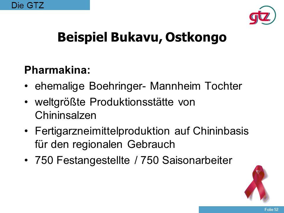 Die GTZ Folie 52 Beispiel Bukavu, Ostkongo Pharmakina: ehemalige Boehringer- Mannheim Tochter weltgrößte Produktionsstätte von Chininsalzen Fertigarzn
