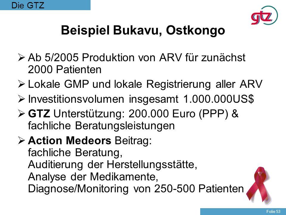 Die GTZ Folie 53 Beispiel Bukavu, Ostkongo Ab 5/2005 Produktion von ARV für zunächst 2000 Patienten Lokale GMP und lokale Registrierung aller ARV Inve