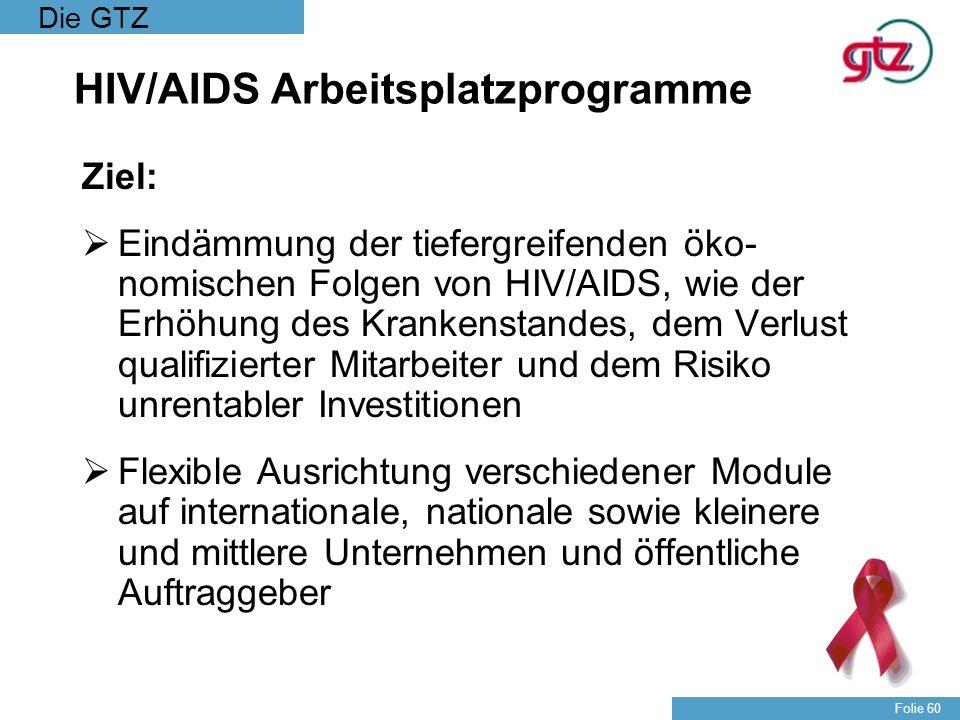 Die GTZ Folie 60 HIV/AIDS Arbeitsplatzprogramme Ziel: Eindämmung der tiefergreifenden öko- nomischen Folgen von HIV/AIDS, wie der Erhöhung des Kranken