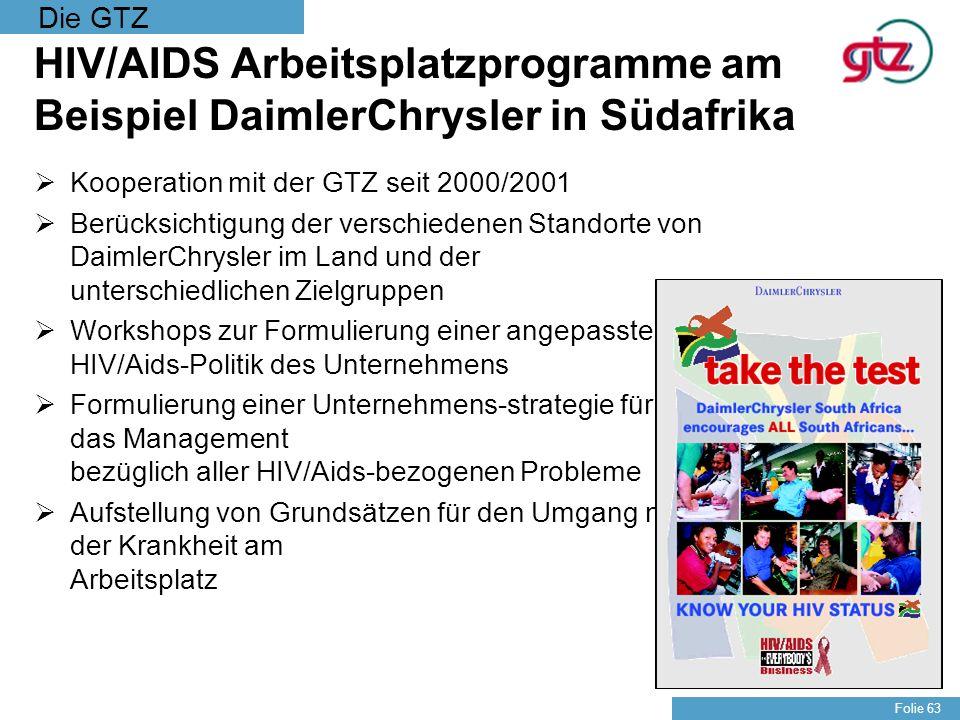 Die GTZ Folie 63 HIV/AIDS Arbeitsplatzprogramme am Beispiel DaimlerChrysler in Südafrika Kooperation mit der GTZ seit 2000/2001 Berücksichtigung der v
