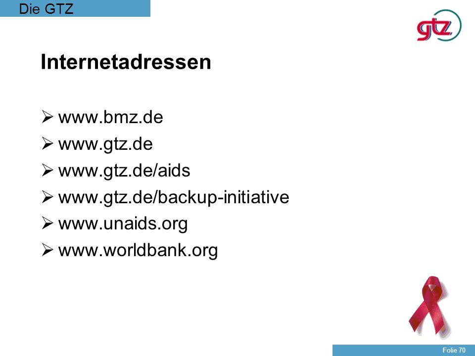 Die GTZ Folie 70 Internetadressen www.bmz.de www.gtz.de www.gtz.de/aids www.gtz.de/backup-initiative www.unaids.org www.worldbank.org