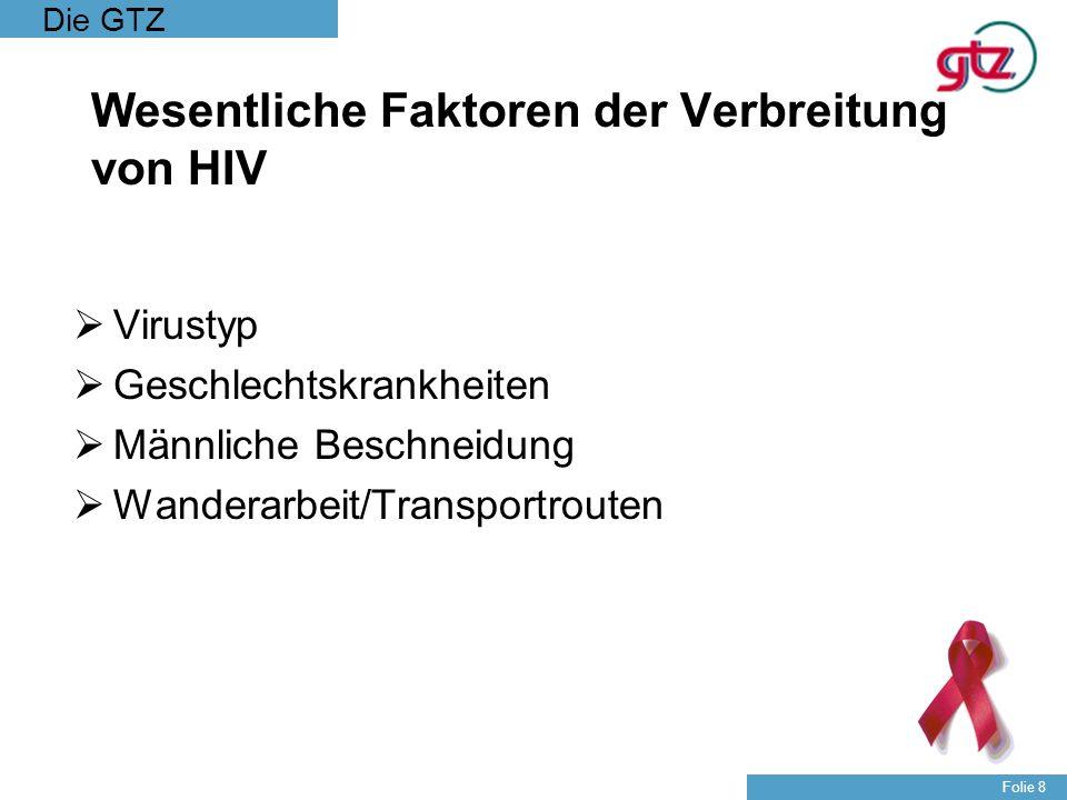 Die GTZ Folie 9 Verbreitung von HIV/AIDS innerhalb der Gesellschaft Neben Differenzen hinsichtlich der regionalen Ausbreitung von HIV/AIDS auch Unterschiede innerhalb der Gesellschaft z.B.: Alter Geschlecht Ökonomische Stellung Kulturelle Wahrnehmung/Faktoren