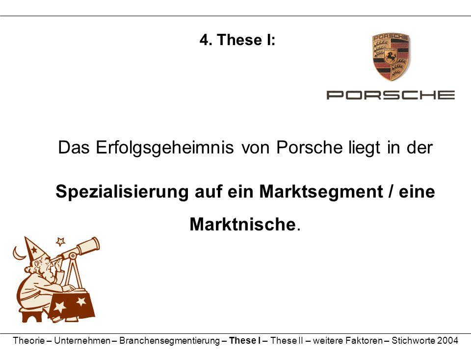 4. These I: Das Erfolgsgeheimnis von Porsche liegt in der Spezialisierung auf ein Marktsegment / eine Marktnische. Theorie – Unternehmen – Branchenseg