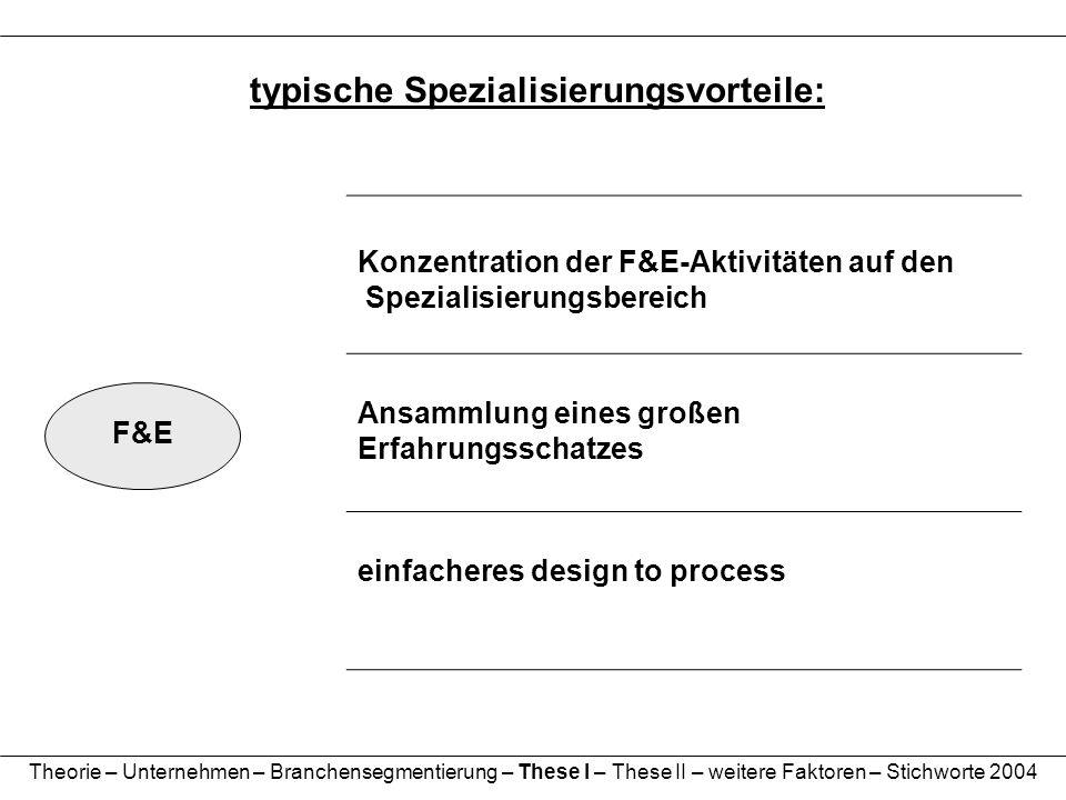 typische Spezialisierungsvorteile: F&E Konzentration der F&E-Aktivitäten auf den Spezialisierungsbereich Ansammlung eines großen Erfahrungsschatzes ei