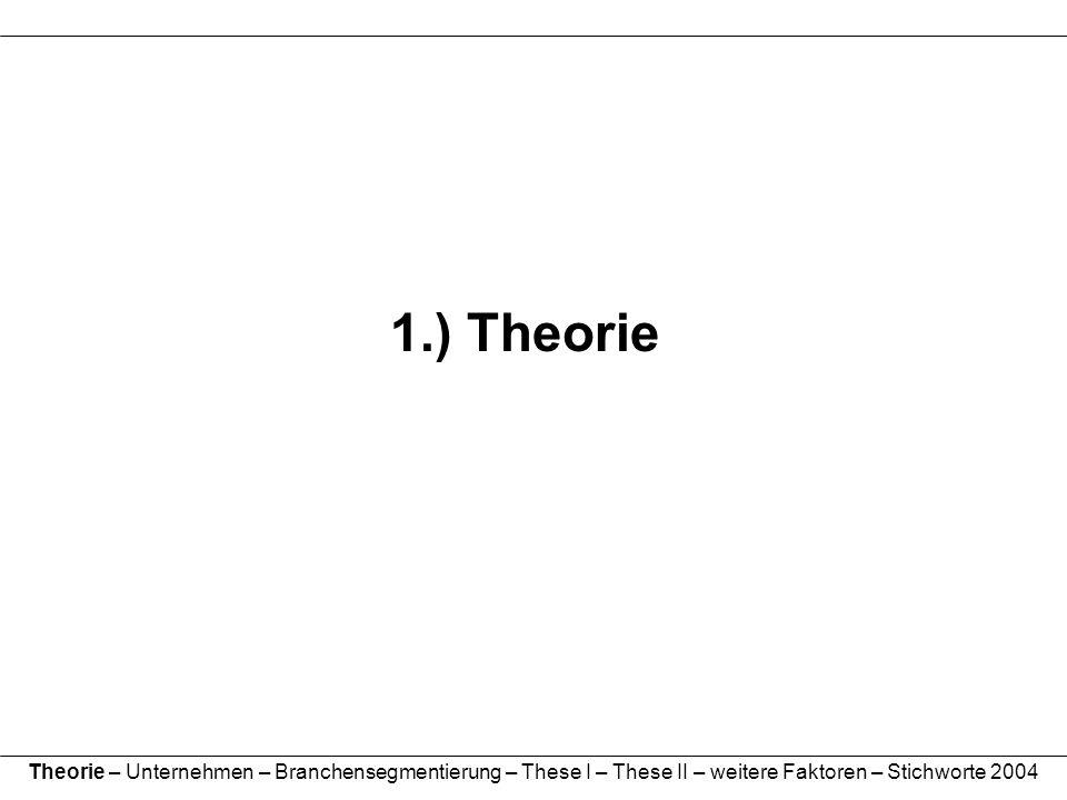 1.) Theorie Theorie – Unternehmen – Branchensegmentierung – These I – These II – weitere Faktoren – Stichworte 2004