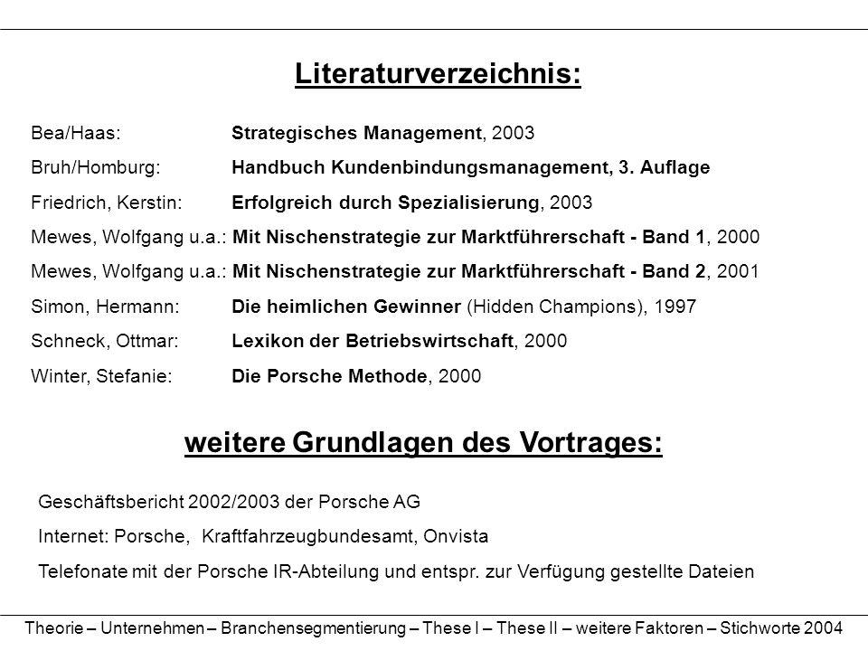 Literaturverzeichnis: Bea/Haas: Strategisches Management, 2003 Bruh/Homburg: Handbuch Kundenbindungsmanagement, 3. Auflage Friedrich, Kerstin: Erfolgr