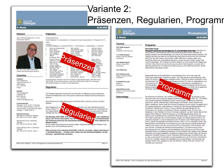 Programm Regularien Präsenzen Variante 2: Präsenzen, Regularien, Programm