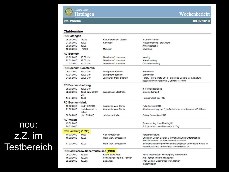 neu: z.Z. im Testbereich