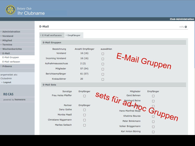 E-Mail Gruppen sets für ad-hoc Gruppen