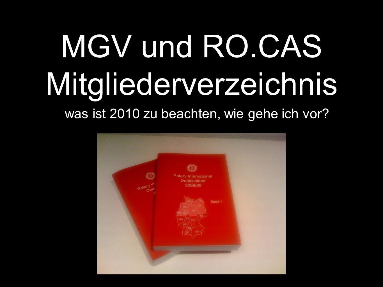 MGV und RO.CAS Mitgliederverzeichnis was ist 2010 zu beachten, wie gehe ich vor