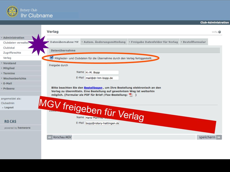 Ihr Clubname MGV freigeben für Verlag