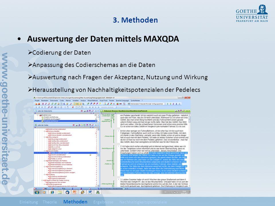 3. Methoden Auswertung der Daten mittels MAXQDA Codierung der Daten Anpassung des Codierschemas an die Daten Auswertung nach Fragen der Akzeptanz, Nut