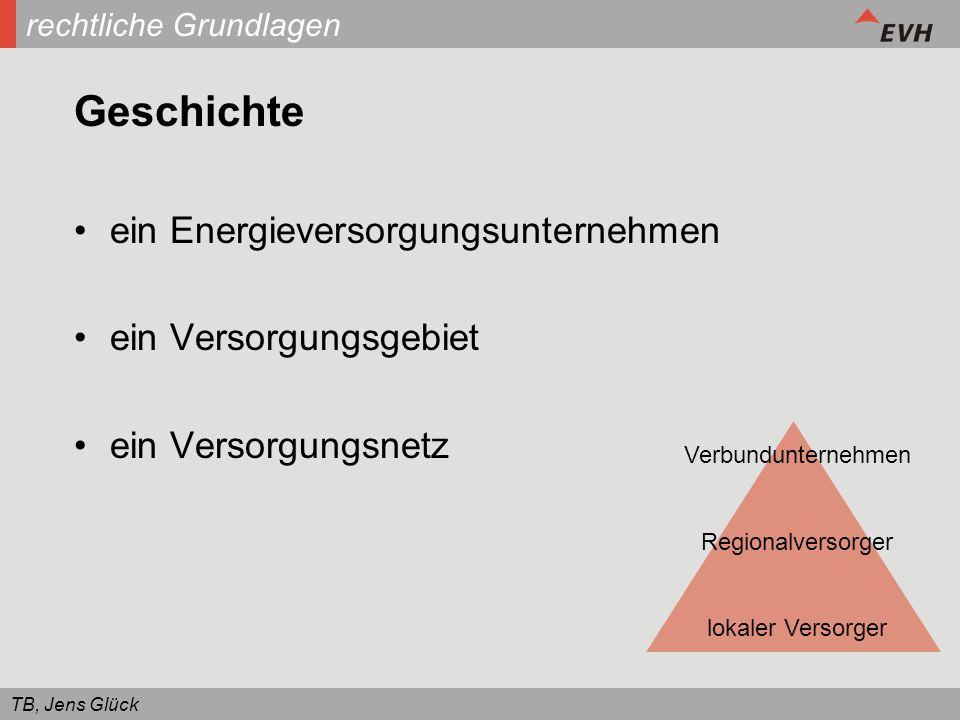 TB, Jens Glück rechtliche Grundlagen Geschichte ein Energieversorgungsunternehmen ein Versorgungsgebiet ein Versorgungsnetz Verbundunternehmen Regiona